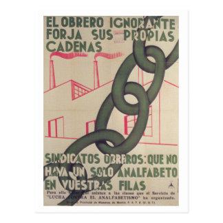 The illiterate worker creates_Propaganda Poster Postcard