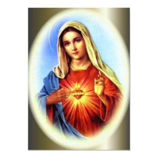 """The Imacculate Heart of Blessed Virgin Mary 5"""" X 7"""" Invitation Card"""