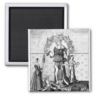 The Image of Dame Astrology with the Three 2 Inch Square Magnet