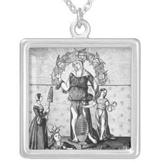 The Image of Dame Astrology with the Three Square Pendant Necklace