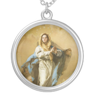 The Immaculate Conception by Giovanni B. Tiepolo Round Pendant Necklace