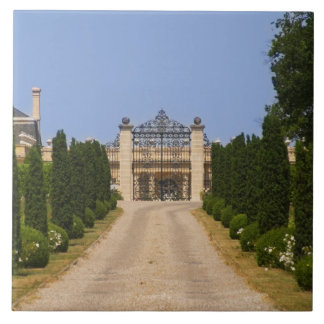 The imposing entrance to Chateau Haut Sarpe, the Tile