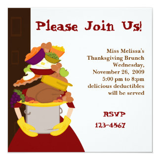"""The Impossible Thanksgiving Dinner 5.25"""" Square Invitation Card"""