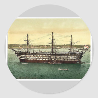 "The ""Impregnable"" training ship, Plymouth, England Round Sticker"