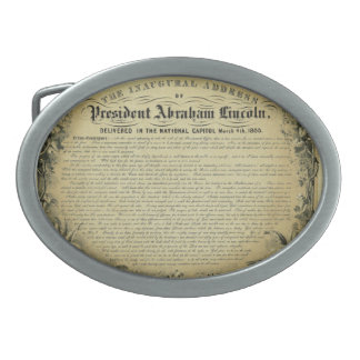 The Inaugural Address of President Abraham Lincoln Oval Belt Buckle