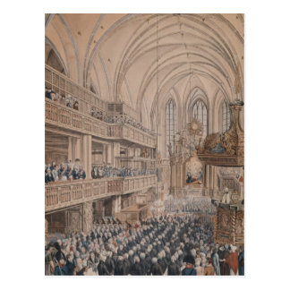 The inauguration of the city councillors postcard
