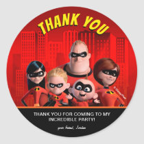 The Incredibles Family Birthday Thank You Classic Round Sticker