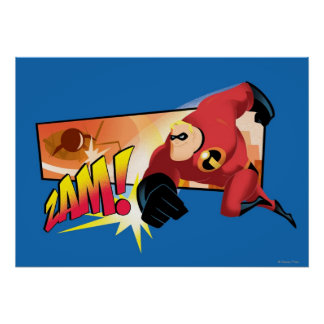 The Incredibles Mr. Incredible Punching running Poster