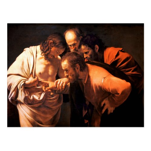 The Incredulity of Saint Thomas by Caravaggio Postcard