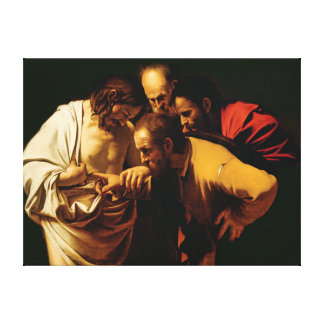The Incredulity of St. Thomas, 1602-03 Canvas Print