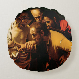 The Incredulity of St. Thomas, 1602-03 Round Pillow