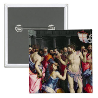 The Incredulity of St. Thomas, c.1547 2 Inch Square Button