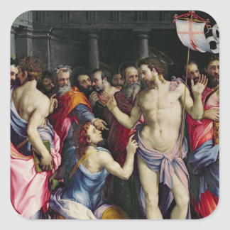The Incredulity of St. Thomas, c.1547 Square Sticker