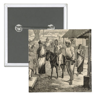 The Indian Famine 2 Inch Square Button