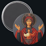 """The Inexhaustible Cup Magnet<br><div class=""""desc"""">This icon of the Mother of God is called &quot;The Inexhaustible Cup&quot; - an image of the Virgin , originating from the Vedenskiy Vladychna monastery in Serpukhov, Russia . Known since 1878 and is revered in the Russian Orthodox Church as miraculous. This symbol goes back to the Orans pose often...</div>"""