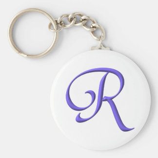 The Initial R Basic Round Button Keychain