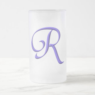 The Initial R Frosted Glass Beer Mug