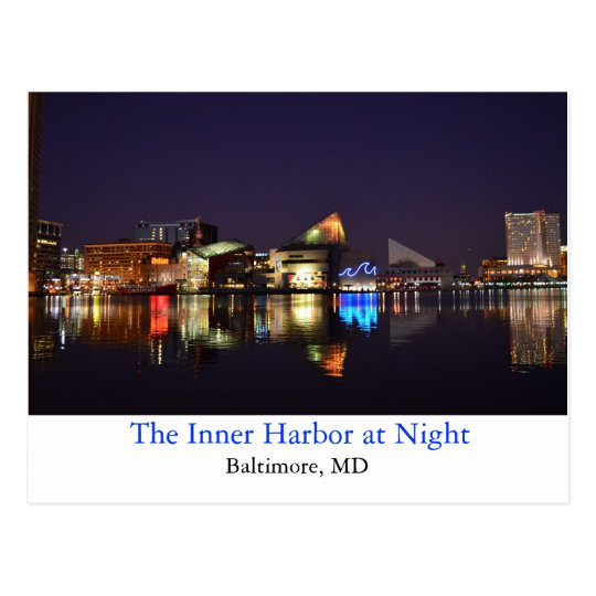 The Inner Harbor at Night Postcard