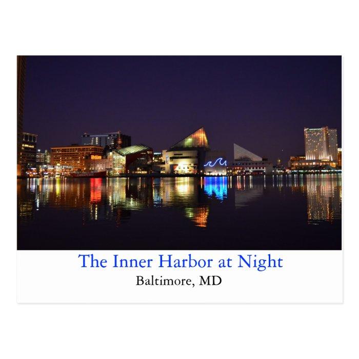 The Inner Harbor at Night Postcard