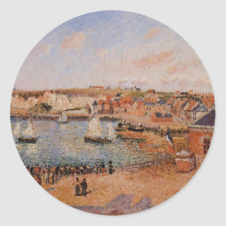 The Inner Harbor, Dieppe Afternoon, Sun, Low Tide Classic Round Sticker