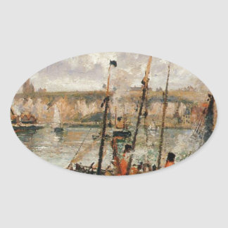 The Inner Harbor, Dpeppe, High Tide, Morning, Grey Oval Sticker