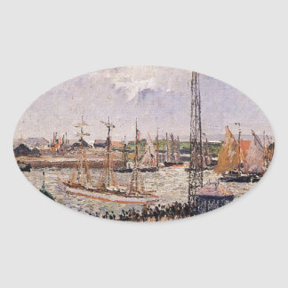The Inner Harbor, Havre by Camille Pissarro Oval Sticker