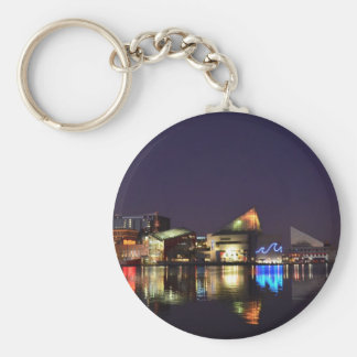 The Inner Harbor of Baltimore at Night Keychain
