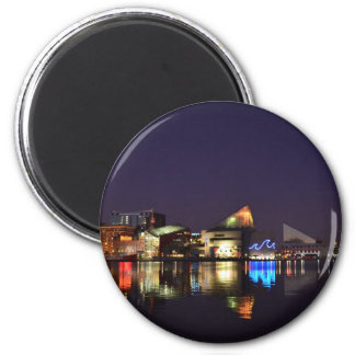 The Inner Harbor of Baltimore at Night Fridge Magnets