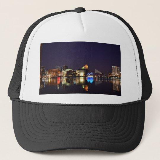 The Inner Harbor of Baltimore at Night Trucker Hat