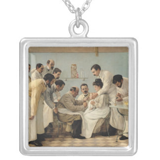 The Insertion of a Tube Square Pendant Necklace