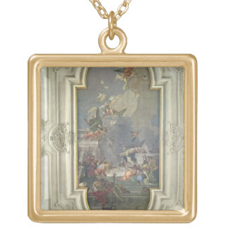 The Institution of the Rosary by St. Dominic (fres Square Pendant Necklace