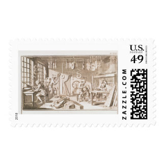 The instrument maker's workshop, detail from plate postage stamp