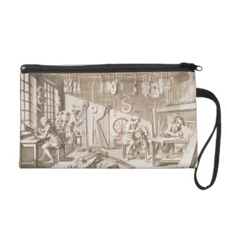 The instrument maker's workshop, detail from plate wristlet purse
