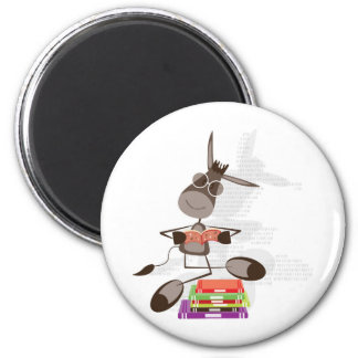 The Intellectual Donkey reading Magnet