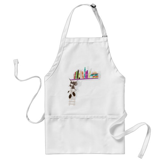 The Intellectual Donkey seaching a book Adult Apron