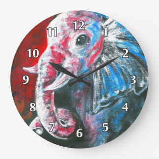 The Intelligent Elegant Elephant Large Clock