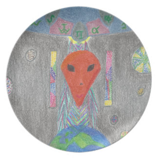 The Interaction UFO Earth and Alien Melamine Plate
