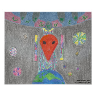 The Interaction UFO Earth and Alien Poster