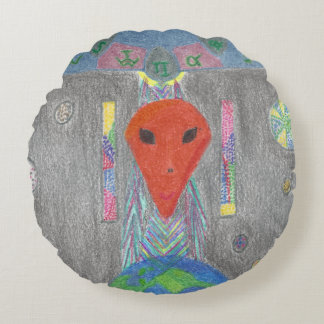 The Interaction UFO Earth and Alien Round Pillow