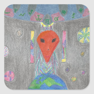 The Interaction UFO Earth and Alien Stickers