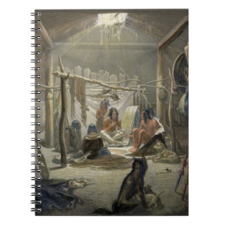The Interior of a Hut of a Mandan Chief, plate 19 Spiral Notebooks