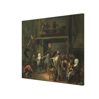 The Interior of a Tavern with a Couple Dancing to Canvas Print