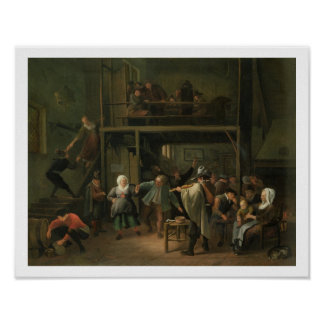 The Interior of a Tavern with a Couple Dancing to Poster