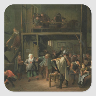 The Interior of a Tavern with a Couple Dancing to Square Sticker