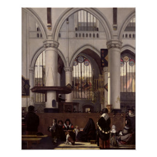 The Interior of Oude Kerk, Amsterdam, c.1660 Poster