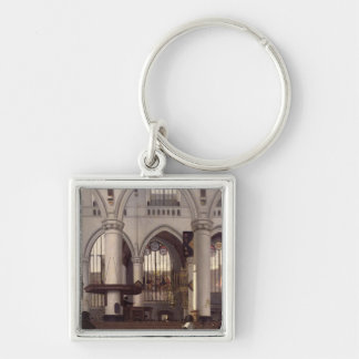 The Interior of Oude Kerk, Amsterdam, c.1660 Silver-Colored Square Keychain