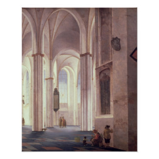 The Interior of the Buurkerk at Utrecht, 1644 Poster