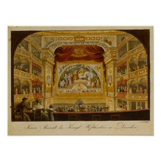 The interior of the royal theatre at Dresden Poster