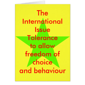 The International Issue Tolerance Star Green Lt Card