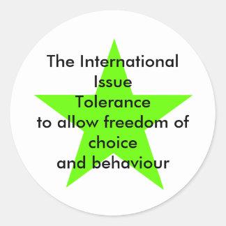 The International Issue Tolerance Star Green Lt Classic Round Sticker